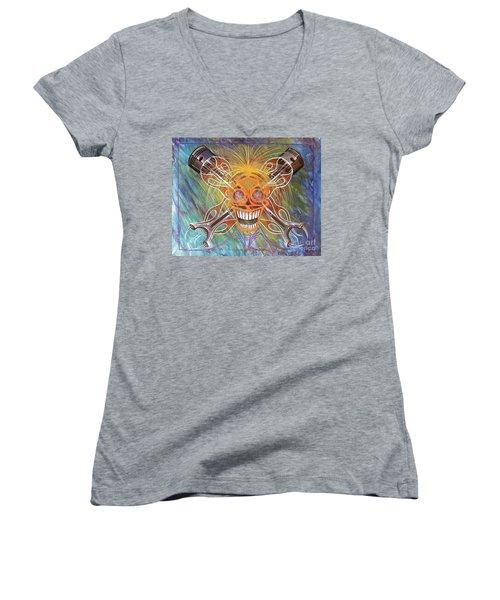 Mind Blown Motorhead  Women's V-Neck T-Shirt (Junior Cut) by Alan Johnson