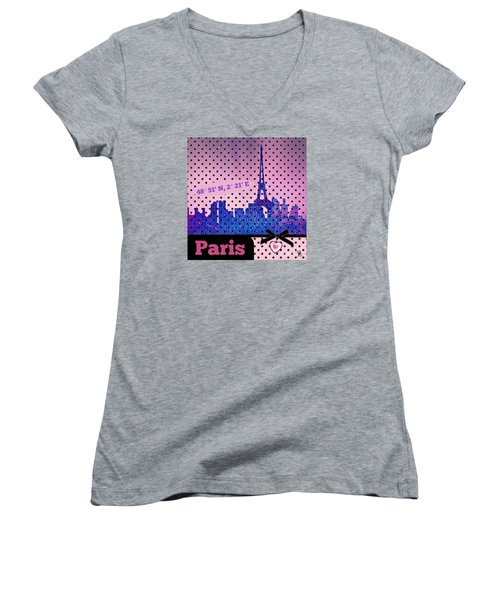 Mindy Jo's Paris  Women's V-Neck T-Shirt (Junior Cut) by Mindy Bench