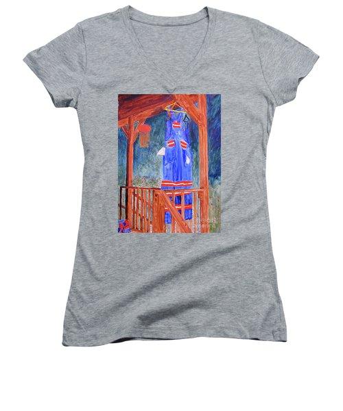 Miner's Overalls Women's V-Neck T-Shirt (Junior Cut) by Sandy McIntire
