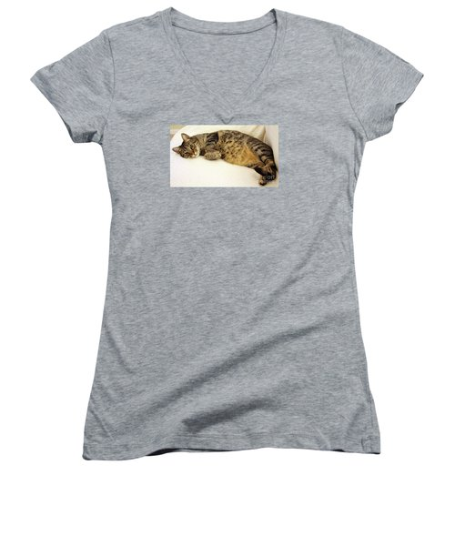 Ming Resting On The Couch Women's V-Neck (Athletic Fit)