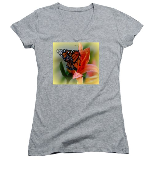 Mingle With A Monarch Women's V-Neck (Athletic Fit)
