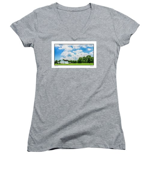 Women's V-Neck T-Shirt (Junior Cut) featuring the photograph Mingoville Clouds by R Thomas Berner