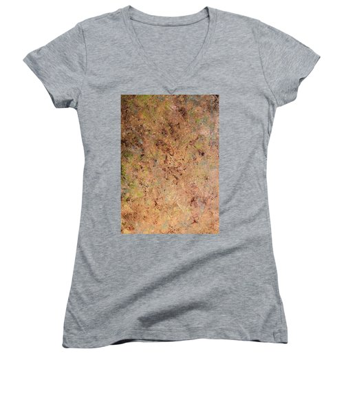 Women's V-Neck T-Shirt (Junior Cut) featuring the painting Minimal 7 by James W Johnson