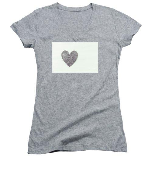 Minimalistic Silver Glitter Heart Women's V-Neck