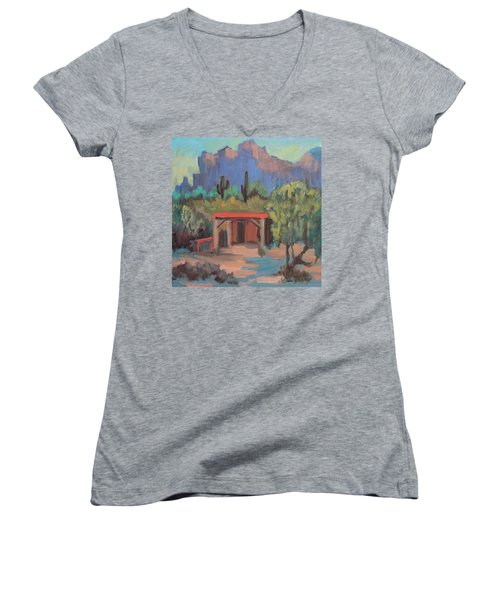 Women's V-Neck T-Shirt (Junior Cut) featuring the painting Mining Camp At Superstition Mountain Museum by Diane McClary