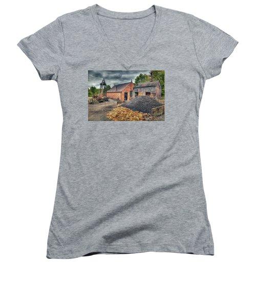 Women's V-Neck T-Shirt (Junior Cut) featuring the photograph Mining Village by Adrian Evans
