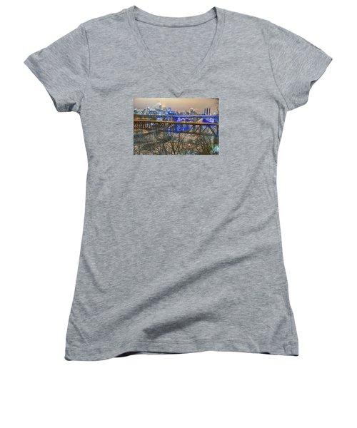 Minneapolis Bridges Women's V-Neck T-Shirt