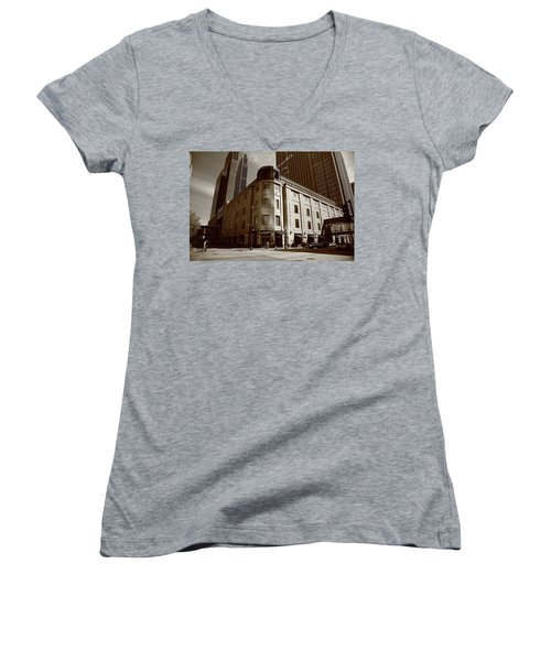 Women's V-Neck T-Shirt (Junior Cut) featuring the photograph Minneapolis Downtown Sepia by Frank Romeo