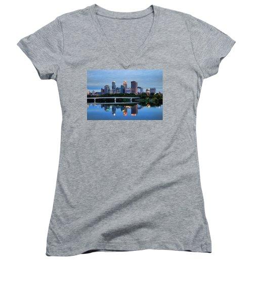 Minneapolis Reflections Women's V-Neck T-Shirt (Junior Cut) by Rick Berk