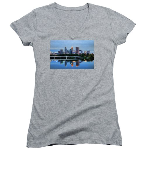 Minneapolis Reflections Women's V-Neck (Athletic Fit)
