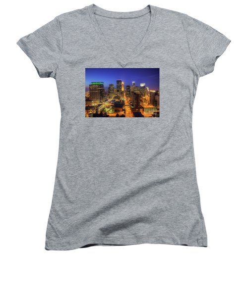Minneapolis Skyline Art Marquette Avenue Women's V-Neck (Athletic Fit)