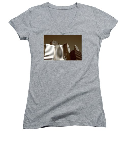 Women's V-Neck T-Shirt (Junior Cut) featuring the photograph Minneapolis Skyscrapers 5 Sepia by Frank Romeo