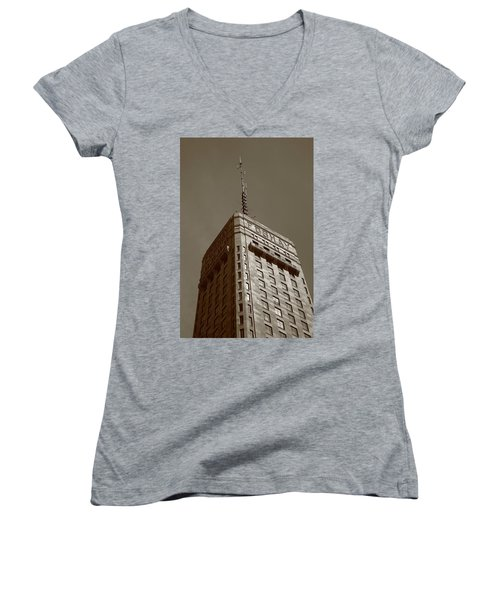 Women's V-Neck T-Shirt (Junior Cut) featuring the photograph Minneapolis Tower 6 Sepia by Frank Romeo
