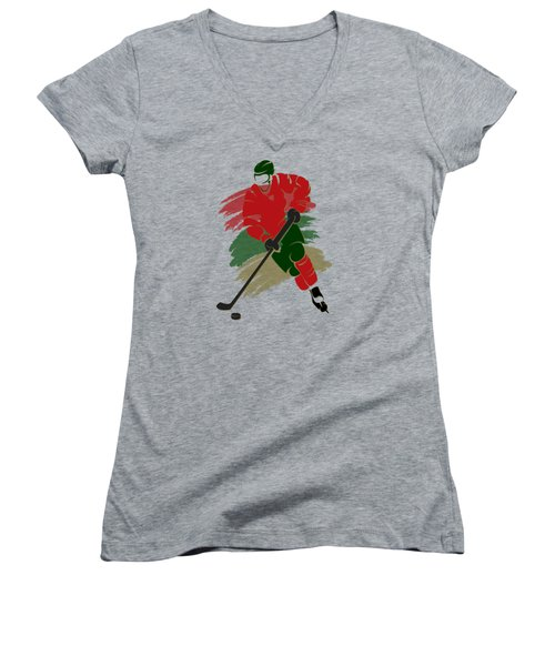 Minnesota Wild Player Shirt Women's V-Neck T-Shirt (Junior Cut) by Joe Hamilton