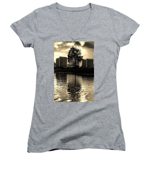 Minsk Dramatic View Women's V-Neck T-Shirt (Junior Cut) by Vadim Levin