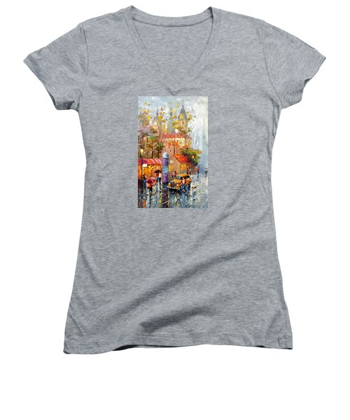 Women's V-Neck T-Shirt (Junior Cut) featuring the photograph Minutes Of Waiting 2  by Dmitry Spiros