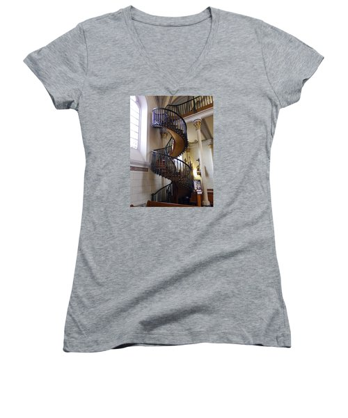 Women's V-Neck T-Shirt (Junior Cut) featuring the photograph Miraculous Stairs by Kurt Van Wagner