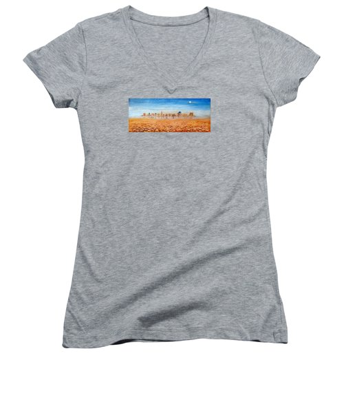 Women's V-Neck T-Shirt (Junior Cut) featuring the painting Mirage City by Arturas Slapsys