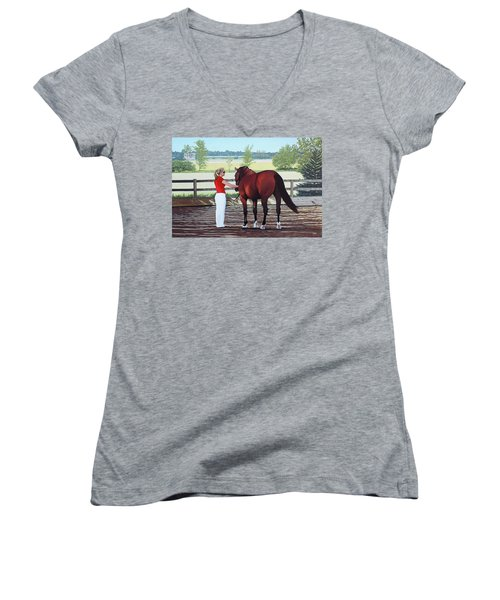 Women's V-Neck T-Shirt (Junior Cut) featuring the painting Mirage Of Wassini by Kenneth  Kirsch