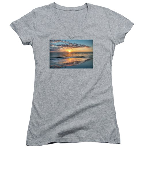 Women's V-Neck T-Shirt (Junior Cut) featuring the photograph Mirror At Sunrise by Debra and Dave Vanderlaan