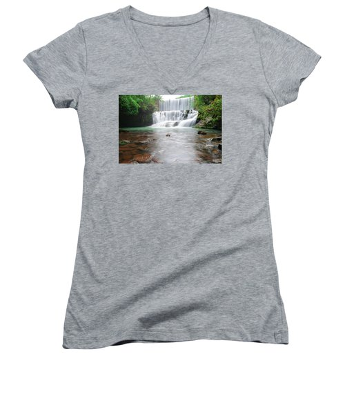 Women's V-Neck T-Shirt (Junior Cut) featuring the photograph Mirror Lake Falls 2 by Renee Hardison