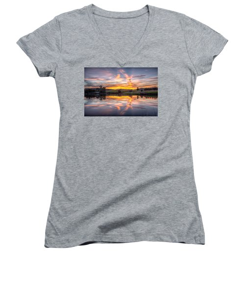 Women's V-Neck featuring the photograph Mirror Lake Sunset by Fiskr Larsen