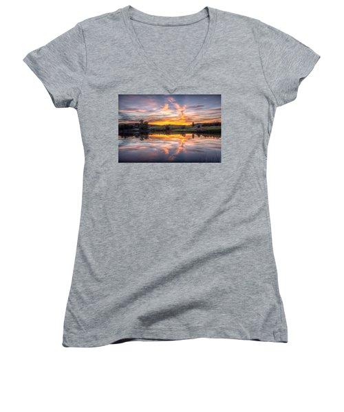 Mirror Lake Sunset Women's V-Neck