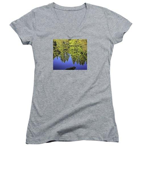 Mirror Mirror-2 Women's V-Neck T-Shirt (Junior Cut) by Nancy Marie Ricketts