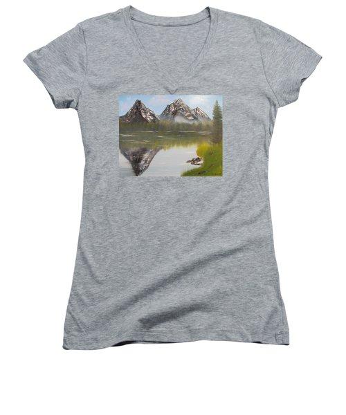 Mirror Mountain Women's V-Neck T-Shirt (Junior Cut) by Thomas Janos