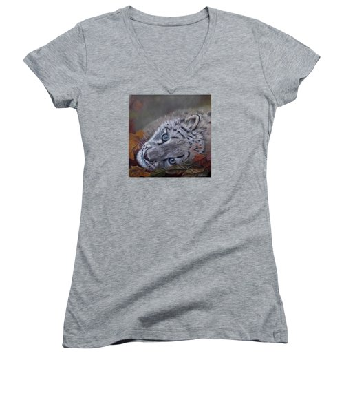 Women's V-Neck T-Shirt (Junior Cut) featuring the painting Mirucha In Fall by Ceci Watson