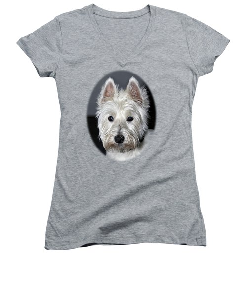 Mischievous Westie Dog Women's V-Neck (Athletic Fit)