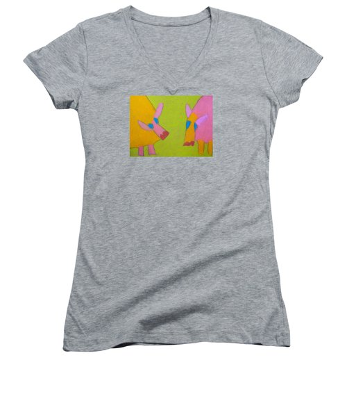 Women's V-Neck T-Shirt (Junior Cut) featuring the pastel Mischievous Pigs by Artists With Autism Inc