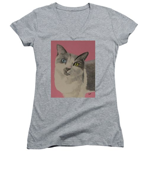 Women's V-Neck T-Shirt (Junior Cut) featuring the painting Miss Pretty Kittie by Hilda and Jose Garrancho