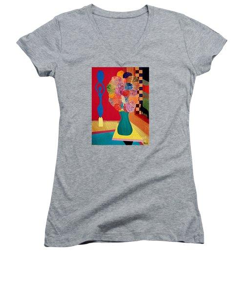 Missing Henri Women's V-Neck T-Shirt (Junior Cut) by Bill OConnor