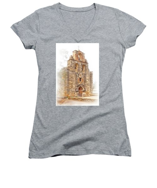 Women's V-Neck T-Shirt (Junior Cut) featuring the photograph Mission San Francisco De La Espada In Faux Pencil Drawing  by David and Carol Kelly