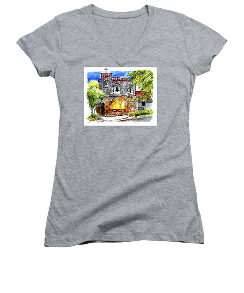 Women's V-Neck T-Shirt (Junior Cut) featuring the painting Mission San Miguel by Terry Banderas
