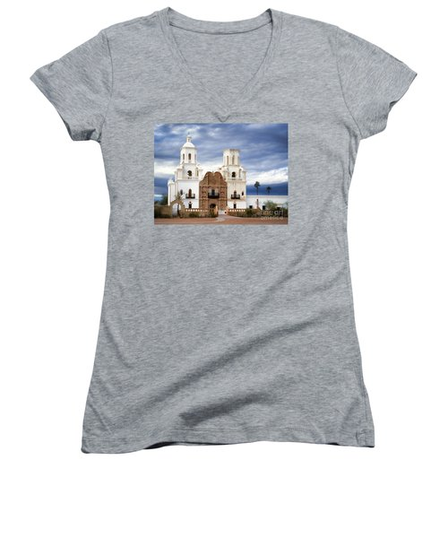 Mission San Xavier Del Bac Women's V-Neck T-Shirt (Junior Cut) by Donna Greene