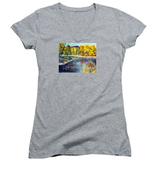 Women's V-Neck T-Shirt (Junior Cut) featuring the painting Mississippi Mix by Jim Phillips