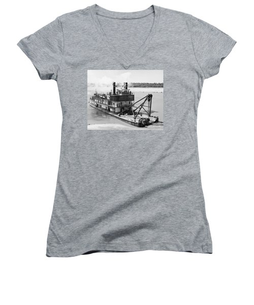 Women's V-Neck T-Shirt (Junior Cut) featuring the photograph Mississippi River Snag Boat by Granger
