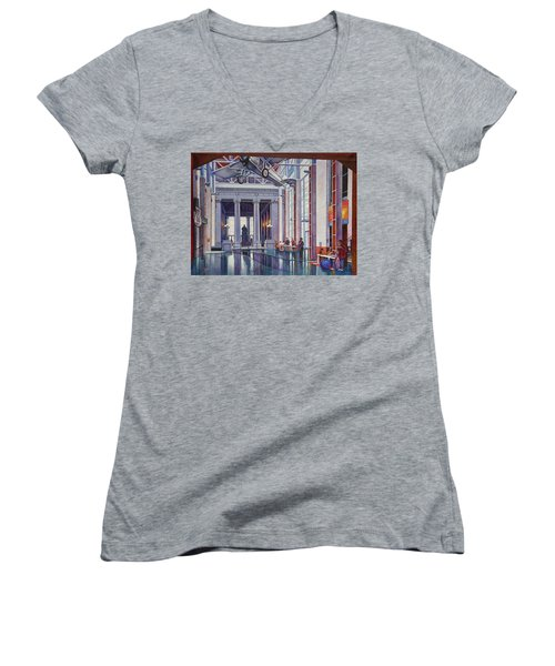Women's V-Neck T-Shirt (Junior Cut) featuring the painting Missouri History Museum by Michael Frank