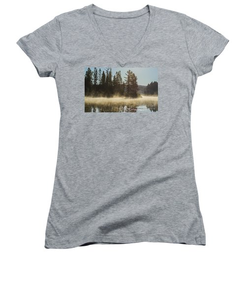 Mist On Costello Lake Women's V-Neck (Athletic Fit)