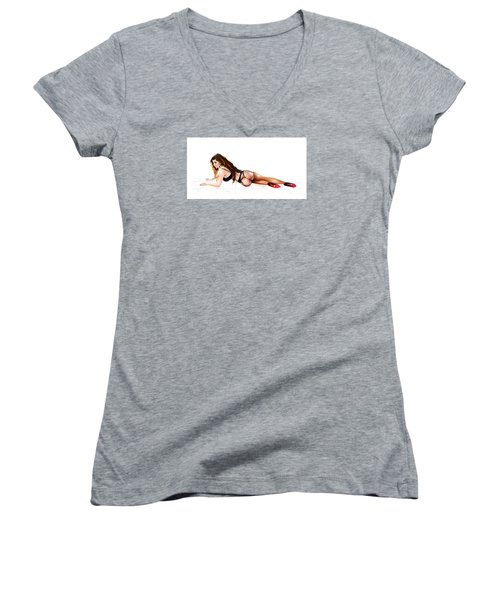 Women's V-Neck T-Shirt (Junior Cut) featuring the drawing Mistress Eve by Brian Gibbs