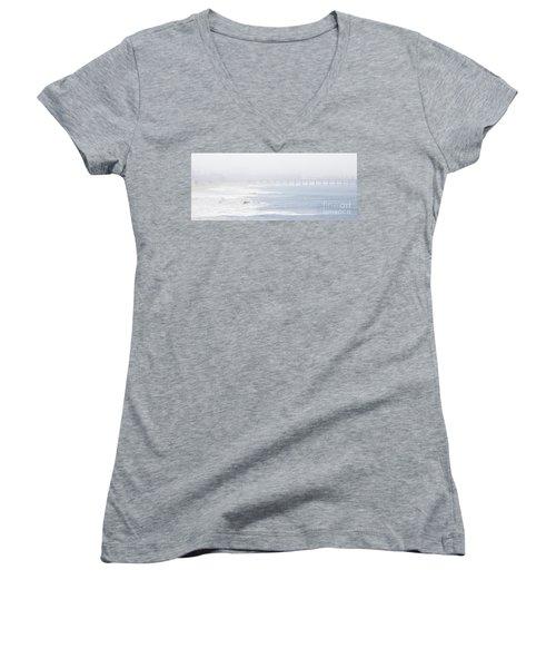 Misty Beach Morning  Women's V-Neck T-Shirt (Junior Cut) by Nicholas Burningham