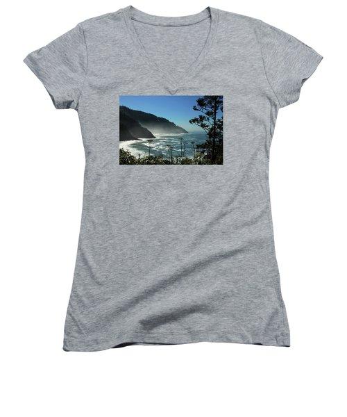 Misty Coast At Heceta Head Women's V-Neck T-Shirt