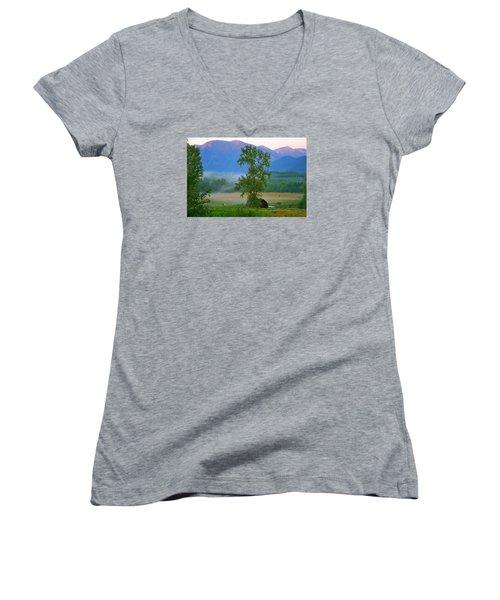 Misty Montana Evening Women's V-Neck T-Shirt
