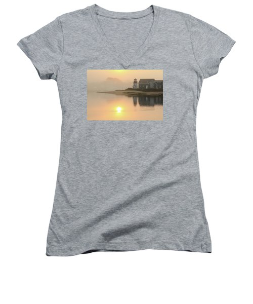 Misty Morning Hyannis Harbor Lighthouse Women's V-Neck T-Shirt (Junior Cut) by Roupen  Baker