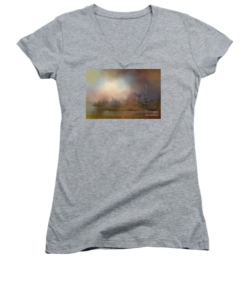 Misty Morning Women's V-Neck T-Shirt (Junior Cut) by Kathy Russell