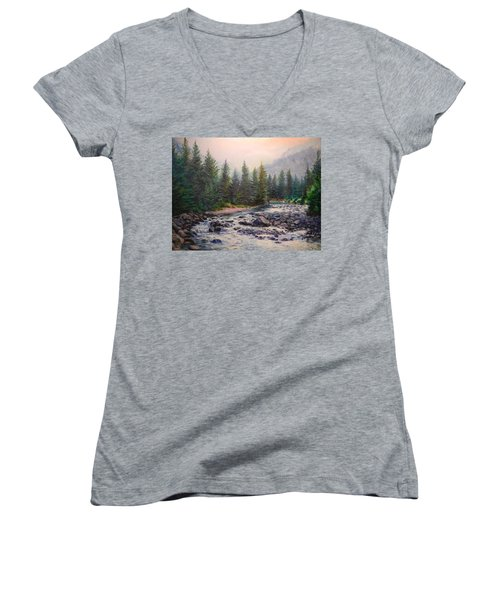 Misty Morning On East Rosebud River Women's V-Neck T-Shirt