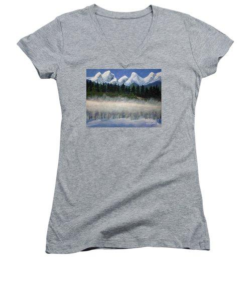 Misty Morning On The Mountain Women's V-Neck T-Shirt