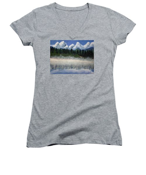 Misty Morning On The Mountain Women's V-Neck (Athletic Fit)
